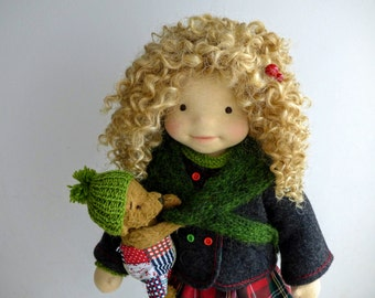 "SALE -LUCY  20"" doll with puppy , waldorf doll, ar doll"
