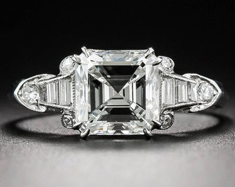 Amazing GIA Certified 2.00Ct Asscher Cut Diamond Engagement Ring 18k White Gold