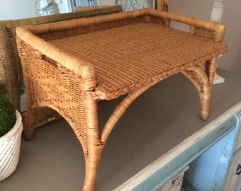 Vintage Wicker Bed Tray Wicker Tray Wicker Serving Tray