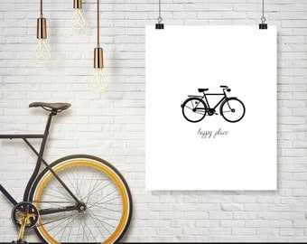 Happy Place Bike Bicycle Ride Travel Word Quote  - Any Color - Office Decor - Poster Wall Art Home Decor Typography