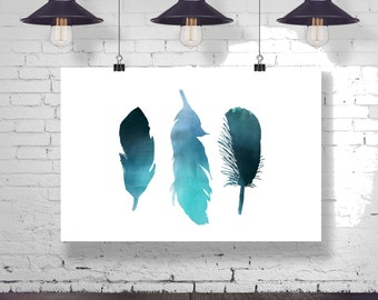 Three Dreamy Blue Watercolor Bird Feather - Child baby nursery -  Poster Wall Art Home Decor Typography