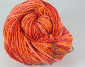Juicy oranges. Hand painted soft merino yarn  10ply Worsted  100 grams 3.5 ounces