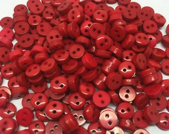 """50 Tiny Red Round Shaped Doll Buttons - size 6mm, 1/4"""", flat back, 2 holes, bulk 6mm buttons, great for baby clothes, dolls"""