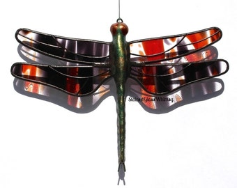Stained Glass DRAGONFLY Suncatcher, Red and Black, with Clear,  Proudly USA Handmade