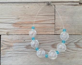 Clear handblown hollow glass bubble necklace
