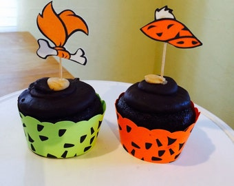 Pebbles Flintstone and Bam Bam Cupcake Wrapper and Topper