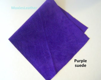 suede scraps purple -lilac suede leather purple suede  - 6 inches by 12 inches or 15 x 30 cm