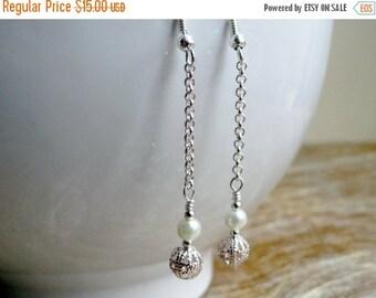 50% OFF Cream pearl earrings - pearl chain earrings - pearl drop earrings - wedding earrings - silver filigree bead