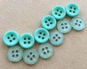 cottage chic pastel contrasting shades of sea foam green buttons--two styles--frosted and matte--mixed lot of 12