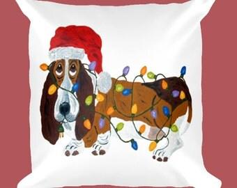Dog Pillow/Basset Hound Pillow/Basset Tangled In Christmas Lights Pillow/Christmas Pillow/Basset Christmas Pillow/Squirreldumplings/Dog Gift