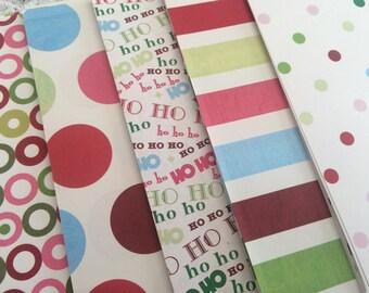 Polka Dot Christmas Paper, 6x6 Scrapbook Paper Pack, Paper Stack Destash, Polka Dots, Strips, Ho Ho Ho
