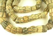 """30"""" strand old handmade striped layered African powder glass trade beads tribal"""