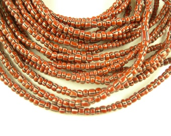 "26"" strand maroon striped Czech glass seed trade beads African tribal AA-0040"