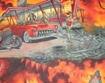Zombie Drive-In Apocolypse  Alexander Henry Fabric 1 Yard