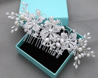 Ivory Faux Pearl Rhinestone Crystals Soft Wire Bridal Hair Comb, Silver Tone Flower Leaf Wedding Hair Accessories, Flower Bridal Headpiece