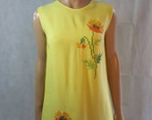 60s/70s Vintage Yellow Bright Embroidered Floral Mod Mini Dress