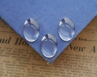 6 pcs Oval Glass Cabochons 25 x 18mm  (SFC2749)