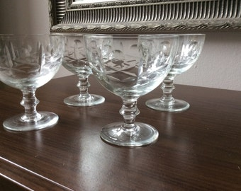 Vintage cut glass/crystal champagne saucers