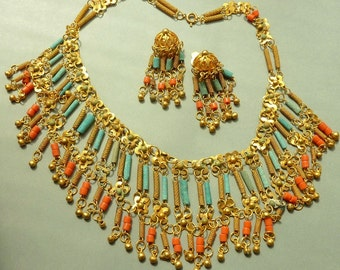 Deco Egyptian Revival Fringe Brass Bib Necklace and Earrings - Coral Turquoise