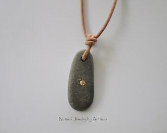 Unique natural jewelry, river stone necklace, eco friendly, organic, zen