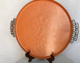 "Vintage mid century Moire orange large tray lustre finish asian design 15"""
