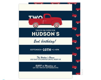 Vintage Truck Invitation -  Transportaton Invitation - Boy Birthday Invitation - Printable Birthday Invitation - 2nd Birthday - Navy Blue