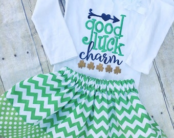 St. Patrick's Day outfit , Girls St. Patrick's Outfit , Toddler St. Patrick's Outfit, St. Patty's Day Outfit , Green Chevron/Polka Dot Skirt