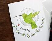 Valentine Card - Animal Valentine Card - Printed Card - Bird Valentine Card