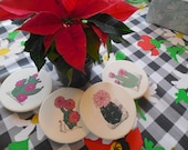 Four vintage handpainted southwest pottery coasters lovely  flowering cactus