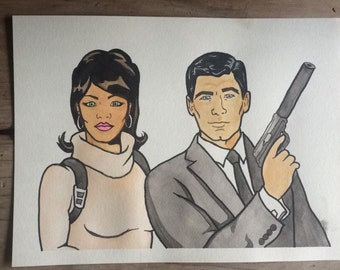 "Sterling Archer and Lana 9x12"" watercolor painting"