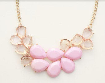 Blush Pink Crystal Statement Necklace