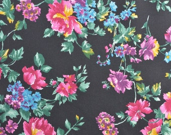 Rayon Dress Fabric, Vintage Floral Fabric, Rayon Floral, Pink and Black, Fabric by the Yard, Vintage Fabric - 1 Yard - DF1670