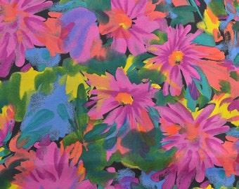 Rayon Dress Fabric, Rayon Floral Fabric, Floral Dress Fabric, Fabric by the Yard, Bright Colors, Fabric Yardage- 1 Yard - DF1694