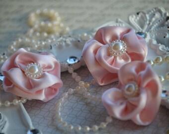 "Set of 3 Light Pink Satin Flowers 1.5"", Satin Flower, small fabric flowers, satin ribbon flower, headband, hair accessories, Pearl Flower"