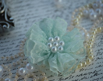 """3"""" Large Pearl Lace Flowers - Mint Fabric Flower - Lace Beaded Flower, Parisian Pearl Flowers"""