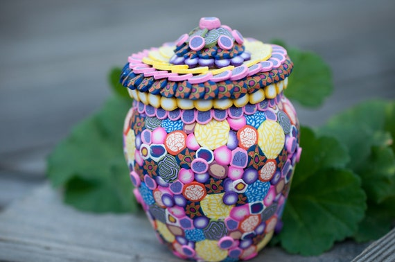 Small Pink Ginger Jar Vase - Up Cycled of Polymer Clay