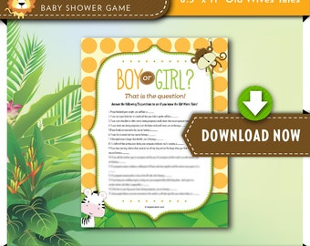 Safari Baby Trivia Game | Old Wives Tales Baby Shower Game, PRINTABLE Boy or Girl, Jungle Monkey Theme Games, Digital, INSTANT DOWNLOAD