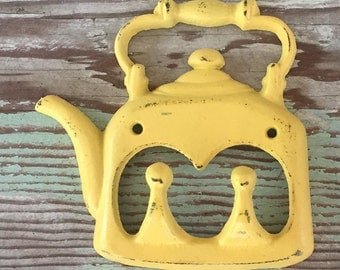 Kitchen Decor - Wall Hook -Yellow Distressed - Key Hook - Yellow Wall Decor -Kitchen Wall Decor - Teapot
