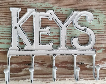 Decorative Wall Hook - Key Hook -Key Holder - Organization - White - Rustic Decor - Shabby Chic- Mudroom - Key Holder