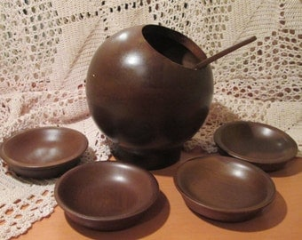Vintage Hellerware Round Wooden Bowl, Serving Spoon and 4 Dishes