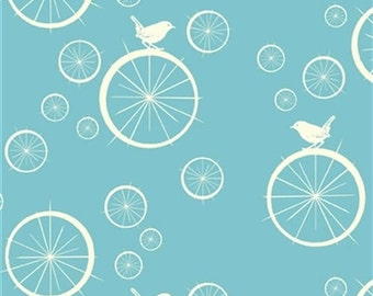 SALE!  Birch Organic Cotton Fabric//Mod Basics Poplin//Birdie Spokes Pool//Bird Fabric//Quilting Cotton//Blue-green Organic Cotton