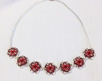 Burgundy and red flower necklace