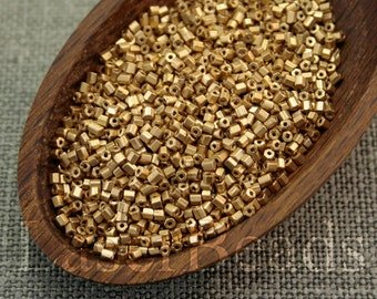 20grams Frosted gold hexagonal beads | 15mm Czech hex seed beads | Matte gold seed beads FF09 last