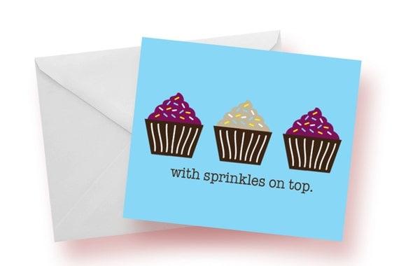 Sprinkles on Top Cupcake Notecards--Set of 10