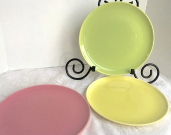 Vintage Ballerina Pink Yellow and Chartreuse Green Dinner Plates by Universal Pottery
