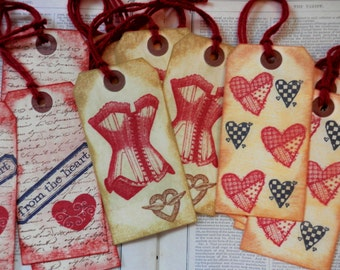 5 Large Tags Valentine's Day Assortment Hearts Flowers Love