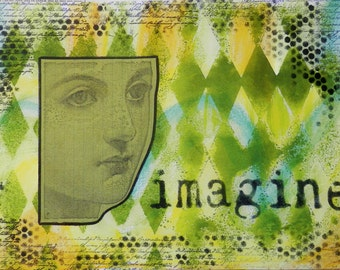 "MIXED MEDIA PRINT 7"" x 10"" on 110 Lb. Heavyweight Acid Free Stock ""Imagine"""