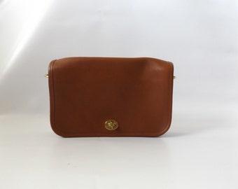 coach crossbody handbag | vintage 90s brown leather authentic designer medium size purse preppy hipster shoulder bag 1980s blouse dresses
