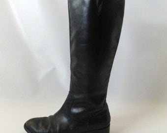 Ralph Lauren Riding Boots Vintage 90s Tall Black Leather Equestrian Knee High Boot Size US 7 1/2 Preppy Classic Polo Shoes 1990s Hipster
