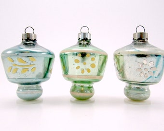 Christmas Ornaments Vintage Glass Top UFO 1950s American Decorations Blue and Green